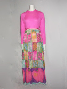 Vintage Pink Knit Bodice Multicolor Floral Fruit Gingham Print Woven Long Maxi Dress