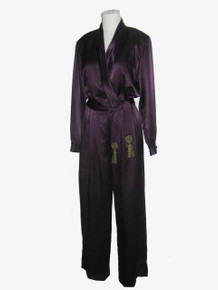 Vintage Deep Purple Plunging Neck Satin Metallic Tassel Fringe Belt Disco Jumpsuit