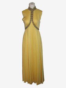 Vintage Yellow Sleeveless Rhinestone Beads Metallic Trim Embellished Hostess Wide Leg Palazzo Mod Jumpsuit Dress Gown