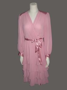 Vintage NWT Unworn Pink Chiffon See Thru Sheer Satin Ruffle Plunging Neck Shirred Belted Disco Dress