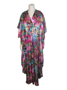 Vintage California Dynasty Multicolor Floral Botanical Tropical Print Hippie Boho Long Caftan Dress