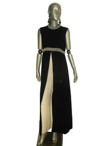 Vintage Black Cream Sleeveless Empire Waist Long Overlay Silver Rhinestone Pearl White Embellished Wide Leg Palazzo Hostess Mod Jumpsuit