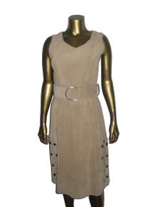Vintage Biege Sleeveless Scoop Neck Eyelet Cut-out Detail Button Slit Big Silver O-Ring Belt Below Knee Mod Suede Dress
