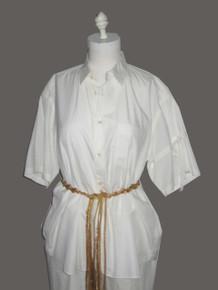 Vintage COMMES des GARCONS SHIRT White Cotton Short Tie Sleeve Shirt