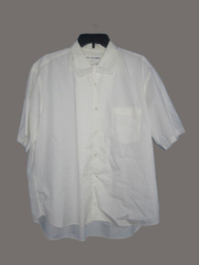 Vintage COMMES des GaRCONS SHIRT White Cotton Short Sleeve Fringe Collar Tunic Shirt