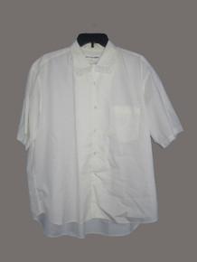 Vintage COMMES des GaRCONS SHIRT White Cotton Short Sleeve Fringe Collar Tunic Shirt