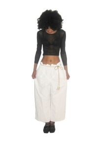 Vintage Issey Miyake Designer Off White Paper Bag Waist Cropped Pants