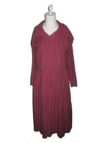 Vintage Adini Avante Garde Multicolor Vertical Diagonal Stripe Buttoned High Collar Overlay Dress