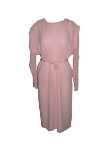 Vintage Designer Pierre Cardin Light Pink Avant Garde Pleated Shoulder Dolman Sleeve Disco Dress w/ Decorative Rope Belt