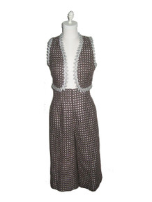Vintage 2pc Metallic Silver Lurex  Vest & Cropped Palazzo Gaucho Pants