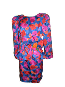 Vintage Raul Blanco 2pc Vibrant Multicolor Floral Print Avant Garde Silk Jacket Top Skirt Set