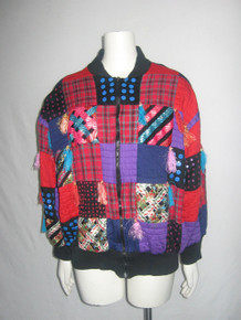 Vintage Black Multicolor Colorblock Ribbon Fringe Sequins Plaid Solid Colorblock Patchwork Embellished Bomber Puffer Grunge Jacket