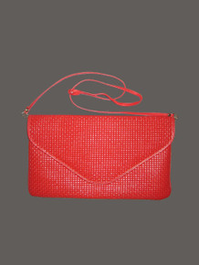 Vintage Made Exclusively For Amelia Berko Genuine Leather Red Gold Flap Closure Large Leather Clutch Envelope Handbag