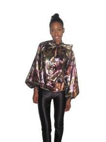 POYZA Multi-Color Floral Print Metallic Lame Ascot Tie Neck Long Poet Sleeve Tunic Blouse