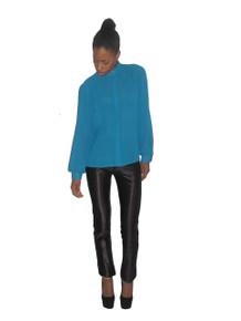 Vintage Tru Blouse Turquoise Metallic Lurex Vertical Stripe Buttoned Puff Sleeve Blouse