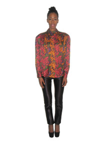 Vintage Renzo Realli Abstract  Paisley Print Multi-Color Ascot Tie Neck Buttoned Silk Blouse