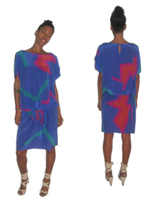 Vintage Designer Flora Kung Advance Blue Multi-Color Abstract Print Cut Out Shoulder Drop Waist Silk Dress