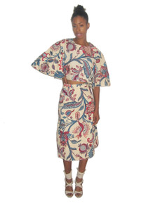 POYZA 2pc Multicolor Printed Cropped Bell Sleeve Blouse w/ Matching Wrap Skirt