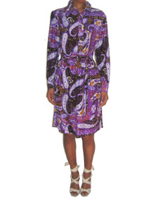 Vintage Gailord Mult-Color Psychedelic Paisley Print Disco Mod Short Shirt Waist Dress w/ Belt