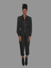 Vintage Ms. Chaus Black Metal Eyelet Snap Closure Disco Jumpsuit