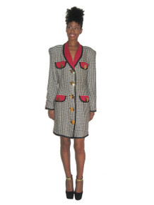 Vintage ABS Dress Collection Houndstooth Big Gold Buttons Contrast Trim Jacket Dress
