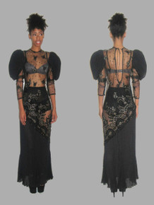 Vintage Black Gold Floral Mesh Lace Applique Embroidered Sequins Embellished See Thru Pleated Keyhole Tie Back Long Dress