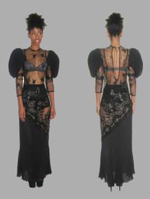 Vintage Black Gold Floral Mesh Lace Applique Embroidered Sequins Embellished See Thru Pleated Keyhole Tie Back Long Dress