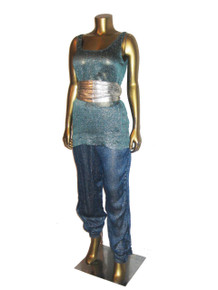 Vintage Norma Walters Rayon Linen Metallic Silver Lame Lurex Sleeveless Tunic Shirred Side Panel Lined Disco Pants