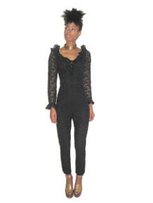 Vintage Rare Glydons Black Lace Mariyln Neck Ruffle See Thru Sheer  Jumpsuit Bodysuit