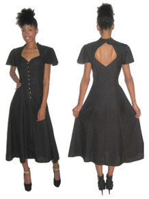 Vintage Midnight Glo Black Sweetheart Neck Cut Out Back Detail Multi-Gore Flared Long Dress