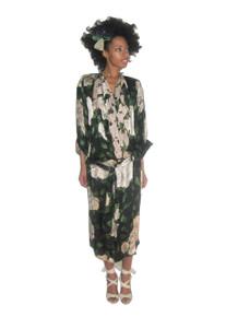Vintage  NWOT Norma Walters Multicolor Floral print Kimono Sleeves Plunging Neck Surplice Silk Wrap Disco Dress w/ Beaded Sash Belt & Flower Pin