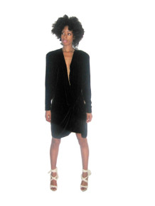 Vintage NWT Norma Walters Black Plunging V-Neck Surplice Beaded Wrap Draped Velvet Wrap Dress