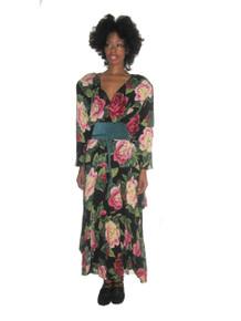 Vintage Phoebe Multicolor Floral Print Handkerchief Hem Bohemian Long Dress w/ Belt
