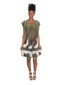 Vintage Roys Multi-Color Color Block Patchwork Mod Short Suede Wrap Skirt
