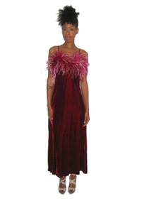 Vintage Rare Feather Boa Burgundy White Strappy  Velvet Long Dress