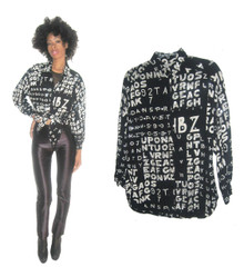 Vintage Sandy Starkman Black White Silver Sequins Embellished Word Number Printed Art Shirt