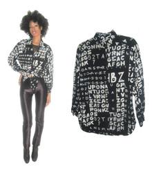 Vintage Sandy Starkman Black White Silver Sequins Embellished Word Number Printed Art Shirt