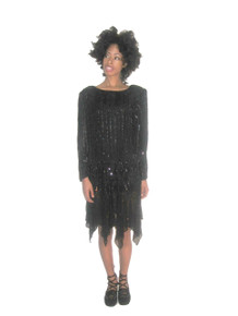 Vintage Rare Megere Black Sequins Beads Embellished Boatneck Drop Waist Handkerchief Hem Flapper Trophy Dress