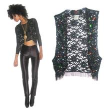 Vintage Vivienne Tam East Wind Code Black Floral Mesh Lace Multi-Color Sequins Beads Jewels Fringe Embellished Cropped Vest