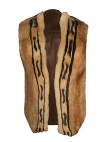 Vintage Rare Unisex Brown Biege Snap Closure Sleeveless Fur Leather Lined Jacket Vest