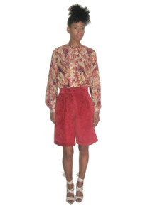 Vintage Cedars Leather Suede Red Orange Pleated High Waist Cuffed Wide Leg Above Knee Shorts Gaucho Pants w/ Pocket