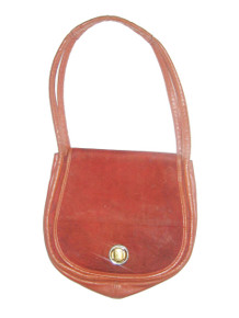 Vintage Designer Oleg Cassini Cognac Printed Flap Closure Leather Hippie Boho Hobo Handbag