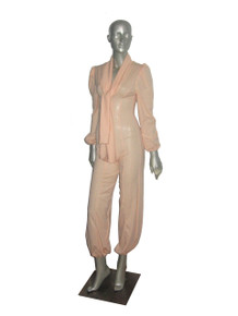 POYZA One Of A Kind Vintage Fabric Made Peach Tie Neck Disco-esque Jumpsuit