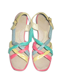 Vintage Selby Multicolor Color Block Braided Crossover  Chunky Heel Buckled Mod Sandals Shoes