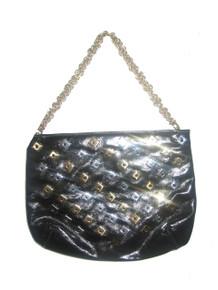 Vintage  Triangle New York Black Vinyl Silver Gold Square Studs Chain Strap Handbag
