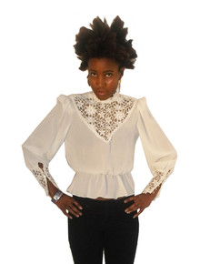 Vintage Off White See Thru Sheer Embroidered Floral Lace Blouson Blouse