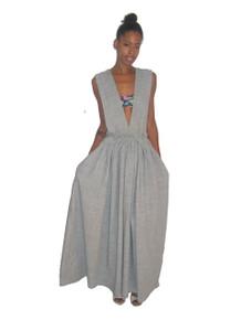POYZA One Of A Kind Textured Heather Grey Gathered Long Jumper Dress w/ Waist Belt Custom Made To Order