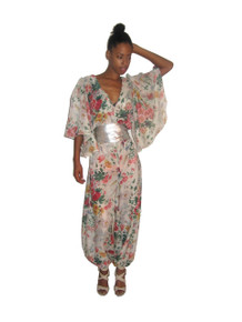 POYZA Signature Multicolor Floral Print Sheer Deep V-Neck Long Flutter Angel Sleeve Harem Jumpsuit w/ Optional Contrast Belt