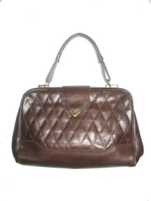 Vintage Large Quilted Leather Doctors Handbag Brown Gold Flap Closure Top Stitch Classic Handbag