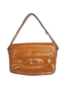 Vintage Crouch & Fitzgerald New York Tan Gold Flap Closure Horsebit Adjustable Shoulder Strap Compartment  Leather Handbag